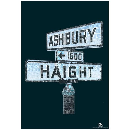 Haight and Ashbury Song Titles Text Poster -