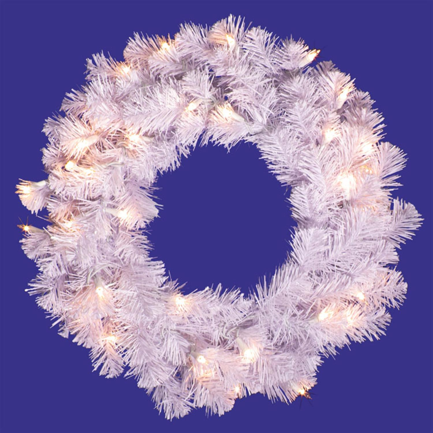 """20"""" Pre-Lit Crystal White Artificial Christmas Wreath - Clear Dura Lights"""