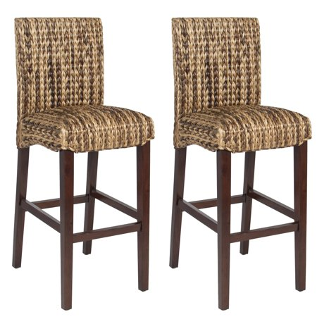 Best Choice Products Set of 2 Indoor Outdoor Hand Woven Water Hyacinth Abaca Banana Leaf Bar Stools with Mahogany Wood Frame for Bar Height, High-Top Table,