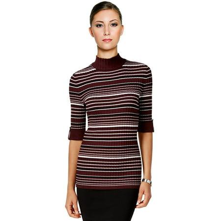 - Style & Co Mock Turtleneck Striped Sweater
