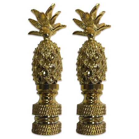 Royal Designs Vintage Pineapple Lamp Finial for Lamp Shade- Polished Brass Set of 2 Antique Brass Pineapple Finial
