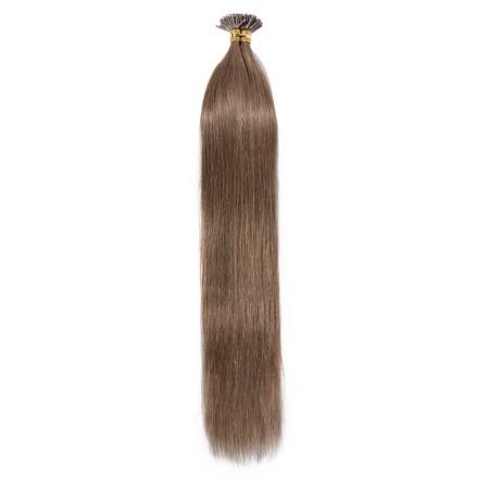 Keratin Hair Extensions (S-noilite I Tip Hair Extensions 100 Strands Pre Bonded Stick Tip Keratin Real Remy Human Hair Extension Straight Light brown,20