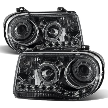 - For 2005-2010 Chrysler 300 C Model Smoked LED Dual Halo Projector Headlight Pair