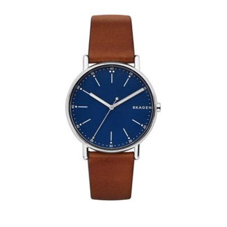 Signature Blue Dial Brown Leather Mens Watch SKW6355