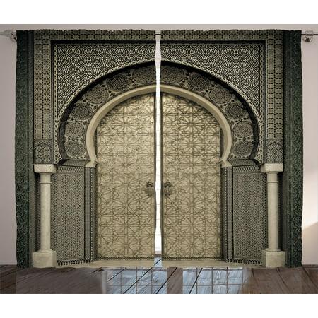 Moroccan Decor Curtains 60 Panels Set Aged Gate Geometric Pattern Classy Moroccan Design Pattern