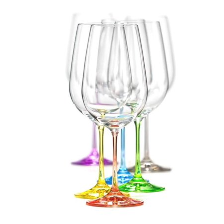 Bohemia Crystal Wine Glasses Multi Colored Rainbow Goblets Set of 6, Each Stem Different Color, Lead -