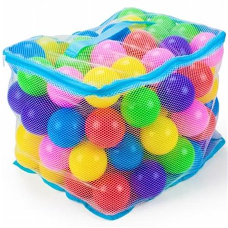 Brybelly TBPT-101 100 Jumbo 3 Multi-Colored Soft Ball Pit Balls w/Mesh Case (Plastic Balls For Sale)