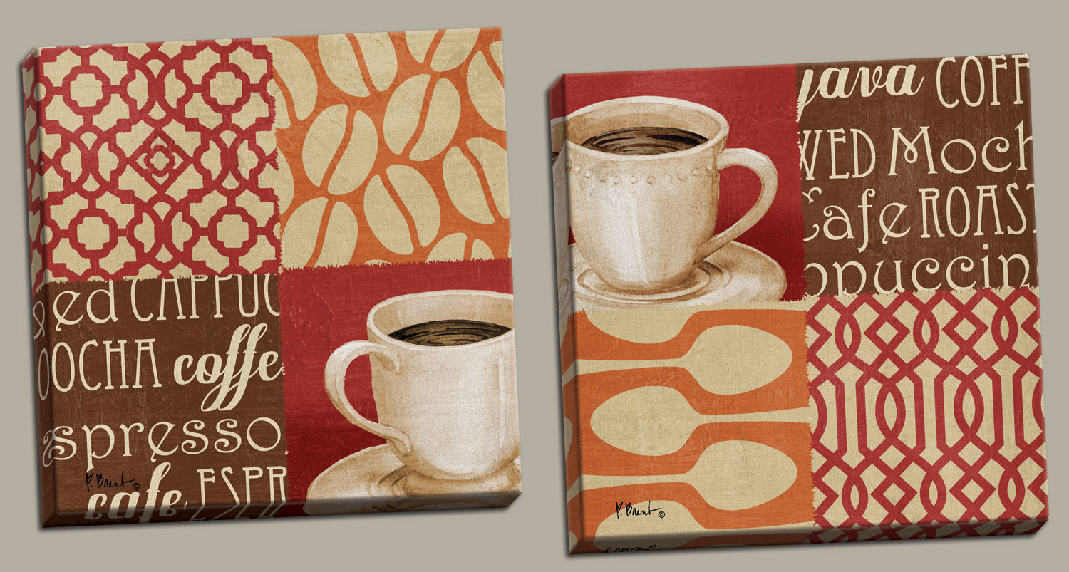Charmant Popular Cup Of Joe Vintage Coffee Quartrefoil Print Posters; Kitchen Decor;  Two 16x16in Hand Stretched Canvases