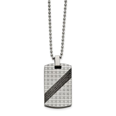 Mia Diamonds Stainless Steel Polished 1 and 2ct tw. Diamond Dog Tag Necklace Chain 2ct Tw Diamond Setting