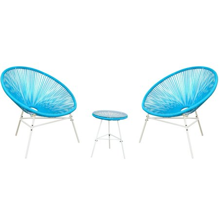 Outdoor Acapulco Sun Weave Lounge Patio Chair with Top Glass Table 3 pcs, Blue ()