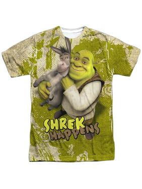 396e1cacd Product Image Shrek Animated Comedy Movie Donkey Shrek Happens Adult  2-Sided Print T-Shirt