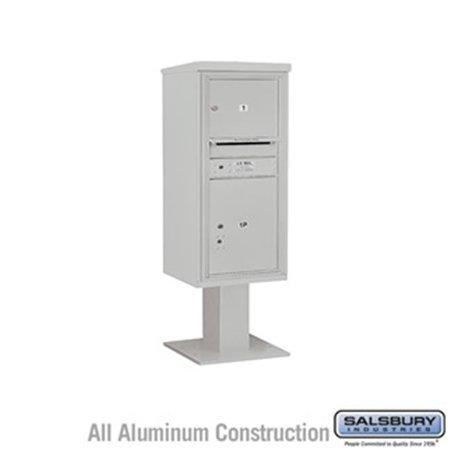 Salsbury 3410SX-01GRY 52.625 in. 10 Door High Unit Single Column 1 MB3 Door & 1 PL5 Pedestal Mounted 4C Horizontal Mailbox ADA Height Compliant Unit,