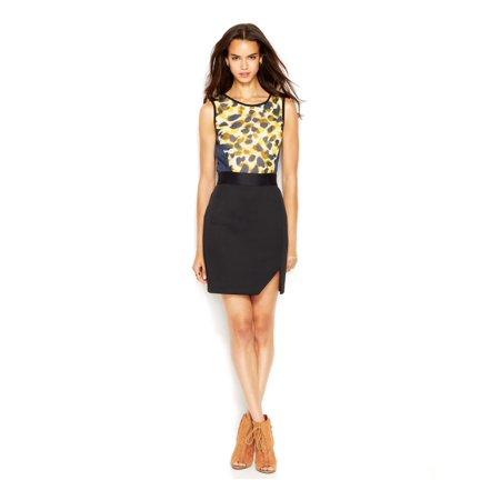 RACHEL ROY Womens Black Printed Sleeveless Jewel Neck Knee Length Sheath Dress Size: 8