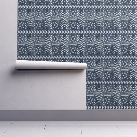 Wallpaper Roll or Sample: Moroccan Mud Cloth Over Dyed Vintage Tribal Navy
