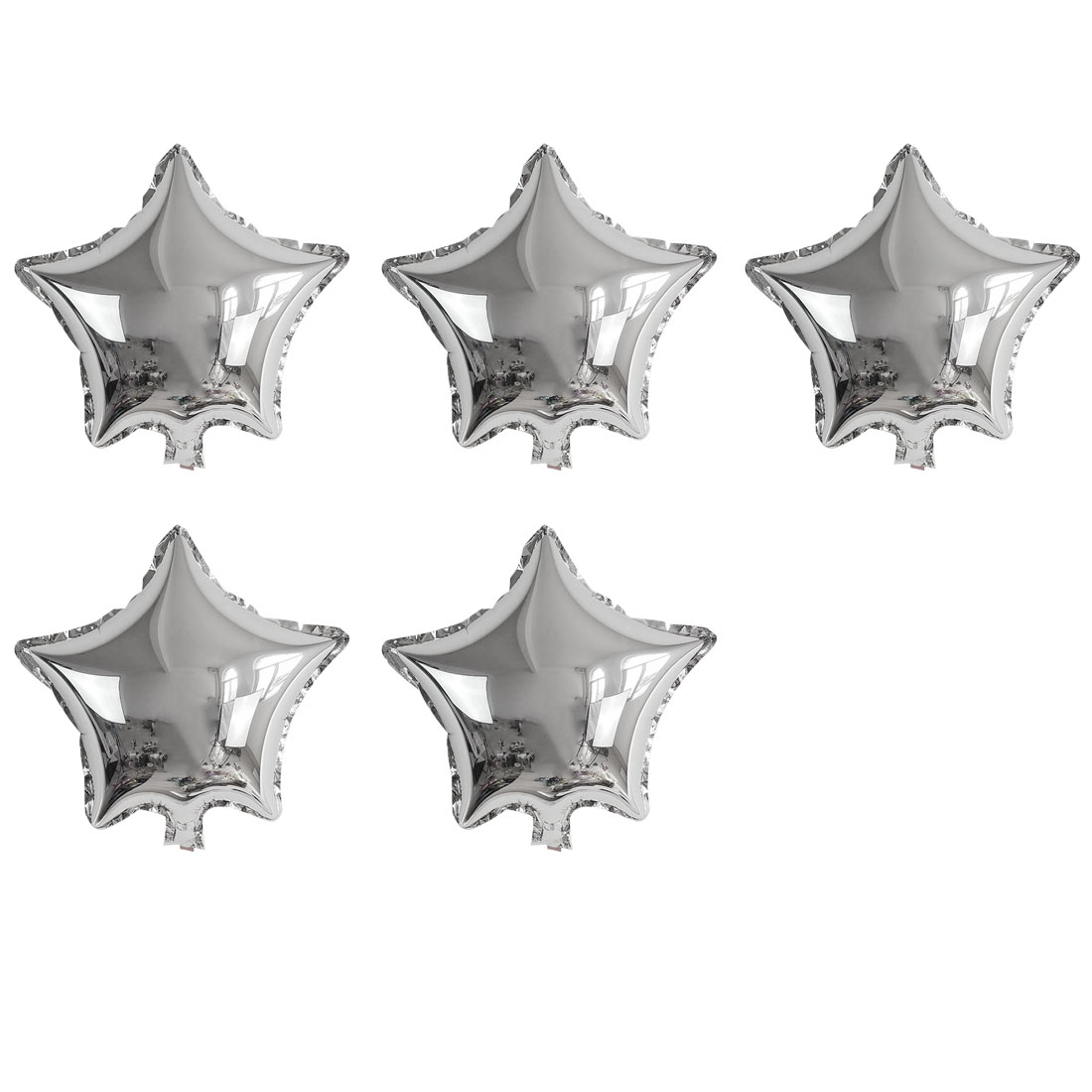 Unique Bargains Foil Star Shape Balloon Birthday Wedding Decor Silver Tone 5 Inches 5 Pcs