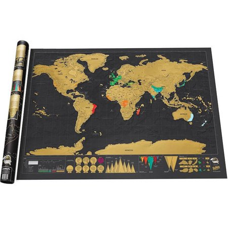 Deluxe Scratch Off World Map Poster Journal Log Giant Of The Gift Black