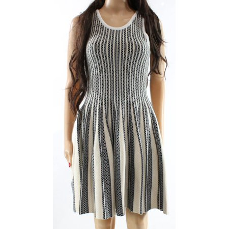 Lucy Paris New Beige Womens Size Large L Striped Flare Sweater Dress