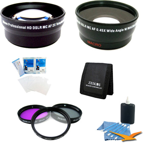 Special Pro Shooter 58mm Lens Kit - 58mm UV, Polarizer & FLD Deluxe Filter kit, Pro .45x Wide Angle Lens, Pro 2x Telephoto Lens Converter, 3 Card Tri-fold Memory Card Wallet, 57\