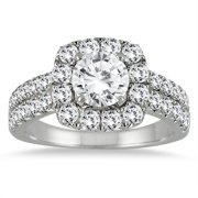 AGS Certified 2 Carat TW Diamond Halo Engagement Ring in 14K White Gold (H-I Color, I1-I2 Clarity)