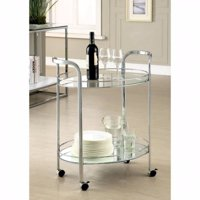Contemporary Serving Cart In Chrome Finish