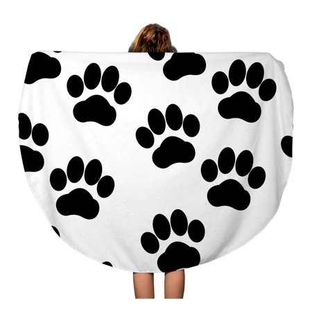 Circular Track (SIDONKU 60 inch Round Beach Towel Blanket Pawprint Dog Tracks Paw Abstract Black Cool Detail Travel Circle Circular Towels Mat Tapestry Beach Throw )