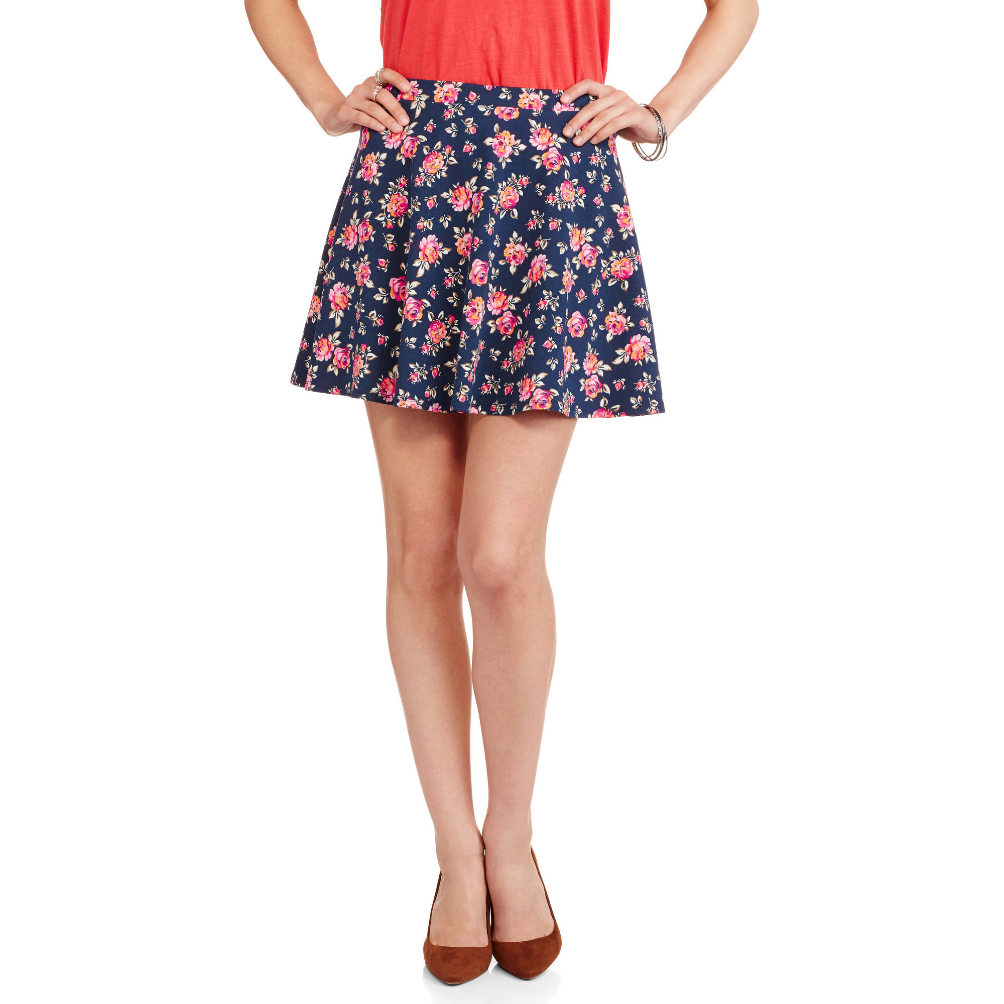 No Boundaries Juniors' Printed Skater Skirt