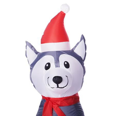 Holiday Time 3.5 Ft. Inflatable Husky Dog ...