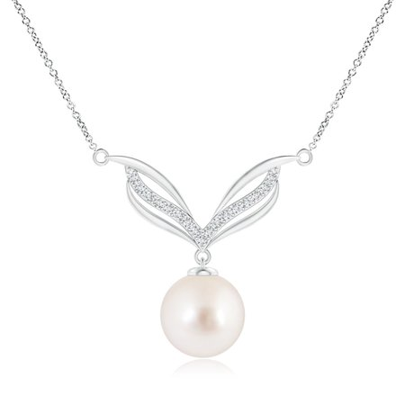 Mother's Day Jewelry - South Sea Cultured Pearl Angel Wings Necklace with Diamonds in 14K White Gold (10mm South Sea Cultured Pearl) - SP0987SSPRD-WG-AAAA-10