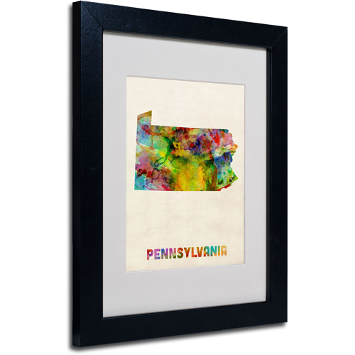 "Trademark Fine Art ""Pennsylvania Map"" Matted Framed Art by Michael Tompsett, Black Frame"