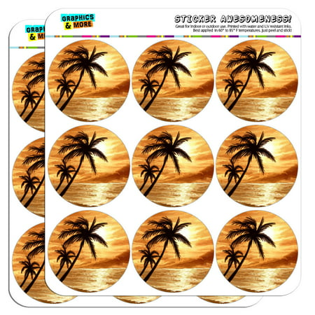 Sunset Beach Palm Tree Hawaii Paradise Orange 2