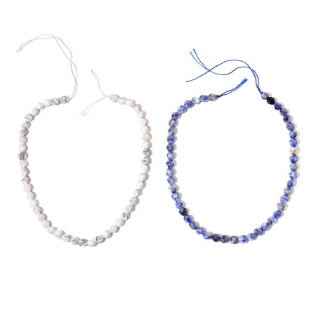 DIY Jewelry Making Tools Sodalite White Howlite Beads Set of 2 Strand String 15