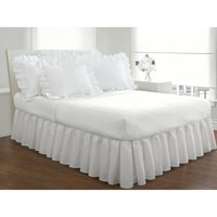 Fresh Ideas Ruffled Poplin Collection Bed Skirt, Queen, White