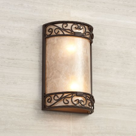 John Timberland Rustic Wall Light Iron Scroll 12 1/2
