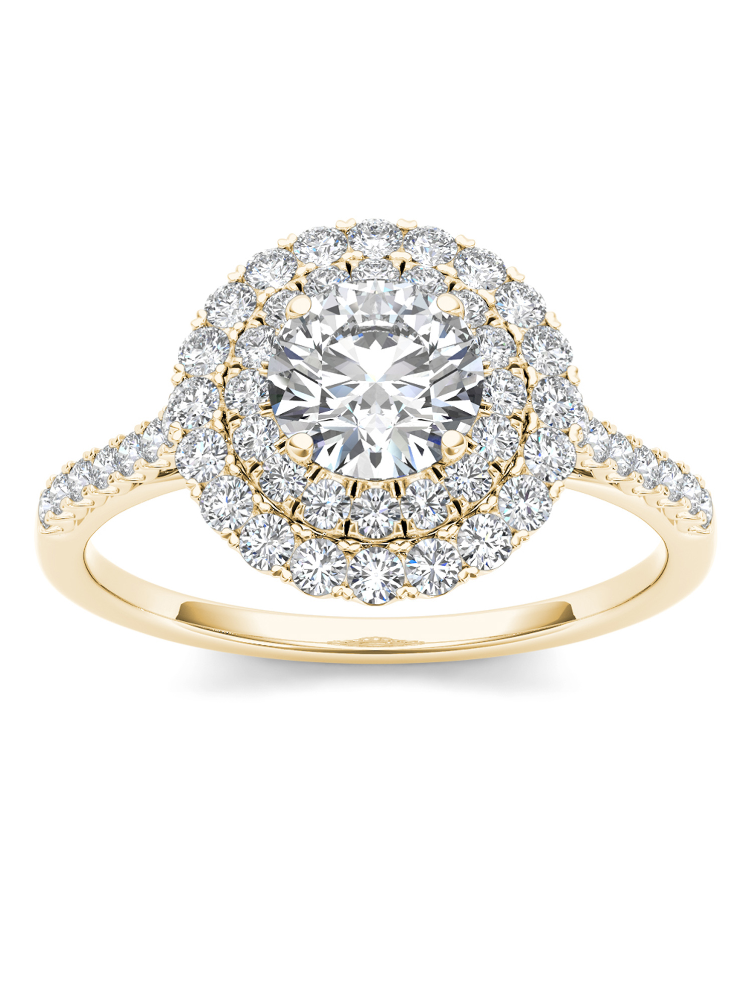 Imperial 1ct TDW Diamond 14K Yellow Gold Double Halo Engagement Ring by DE COUER NEW YORK LLC