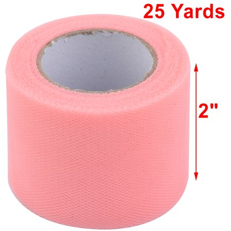 Family Polyester Diy Tutu Skirt Decor Craft Tulle Spool Roll Coral Pink 2 Inch X 25 Yards