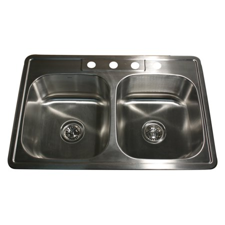 Nantucket Sinks 33 Inch Large Rectangle Double Bowl Equal Self Rimming Stainless Steel Drop In Kitchen (Hole Self Rimming Double Bowl)
