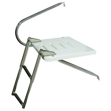 - JIF MARINE EKU3 3-Step O/B Transom Platform W/1 Arm Ss 316 Telescoping Mt Bottom