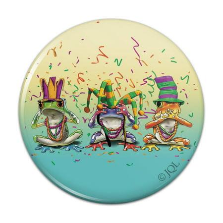 Party Frogs Mardi Gras See No Evil Hear Speak Kitchen Refrigerator Locker Button Magnet No Evil Frogs