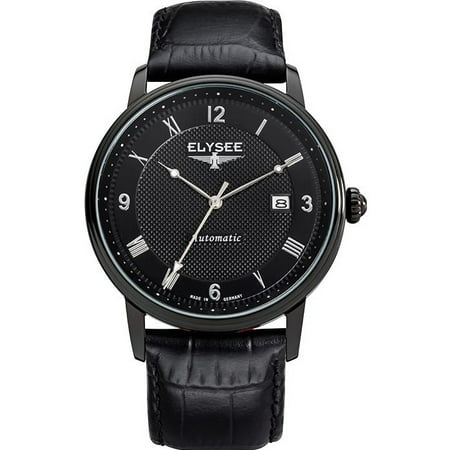 ELYSEE Men's Monumentum Automatic 41mm Black Leather Band IP Steel Case Grey Dial Analog Watch 77007