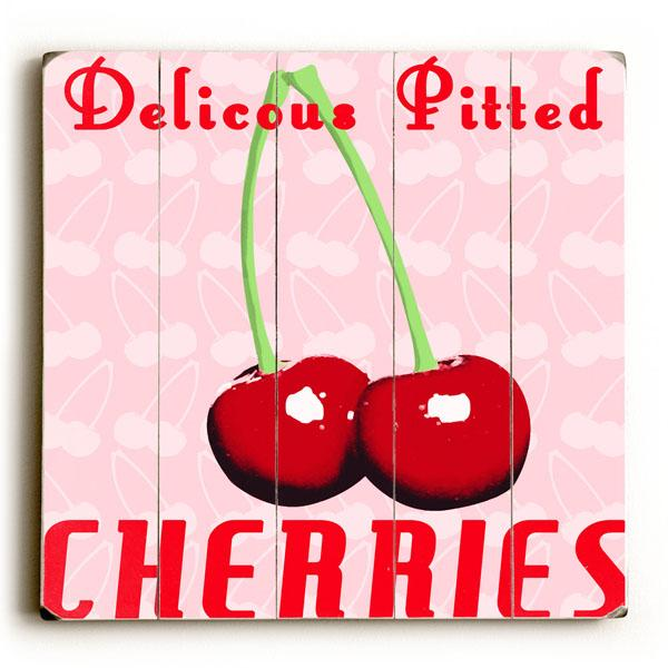 """ArteHouse Decorative Wood Sign """"Delicious Pitted Cherries"""" by Artist Gi Art Lab, 12"""" x 16"""", Planked Wood"""