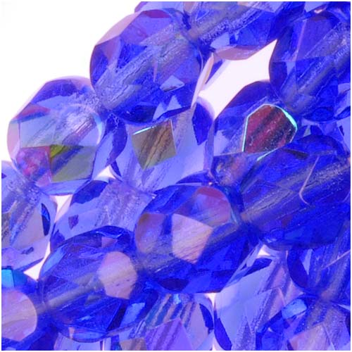 Czech Fire Polished Glass Beads 6mm Round Sapphire AB (25)