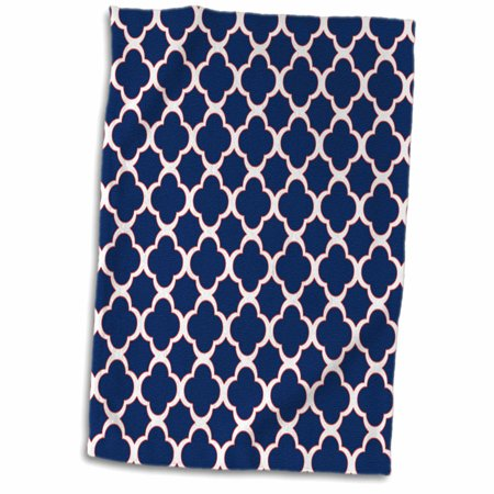 3D Rose Quatrefoil Pattern Navy Blue and White with Red Accent Towel 15 x 22 ()