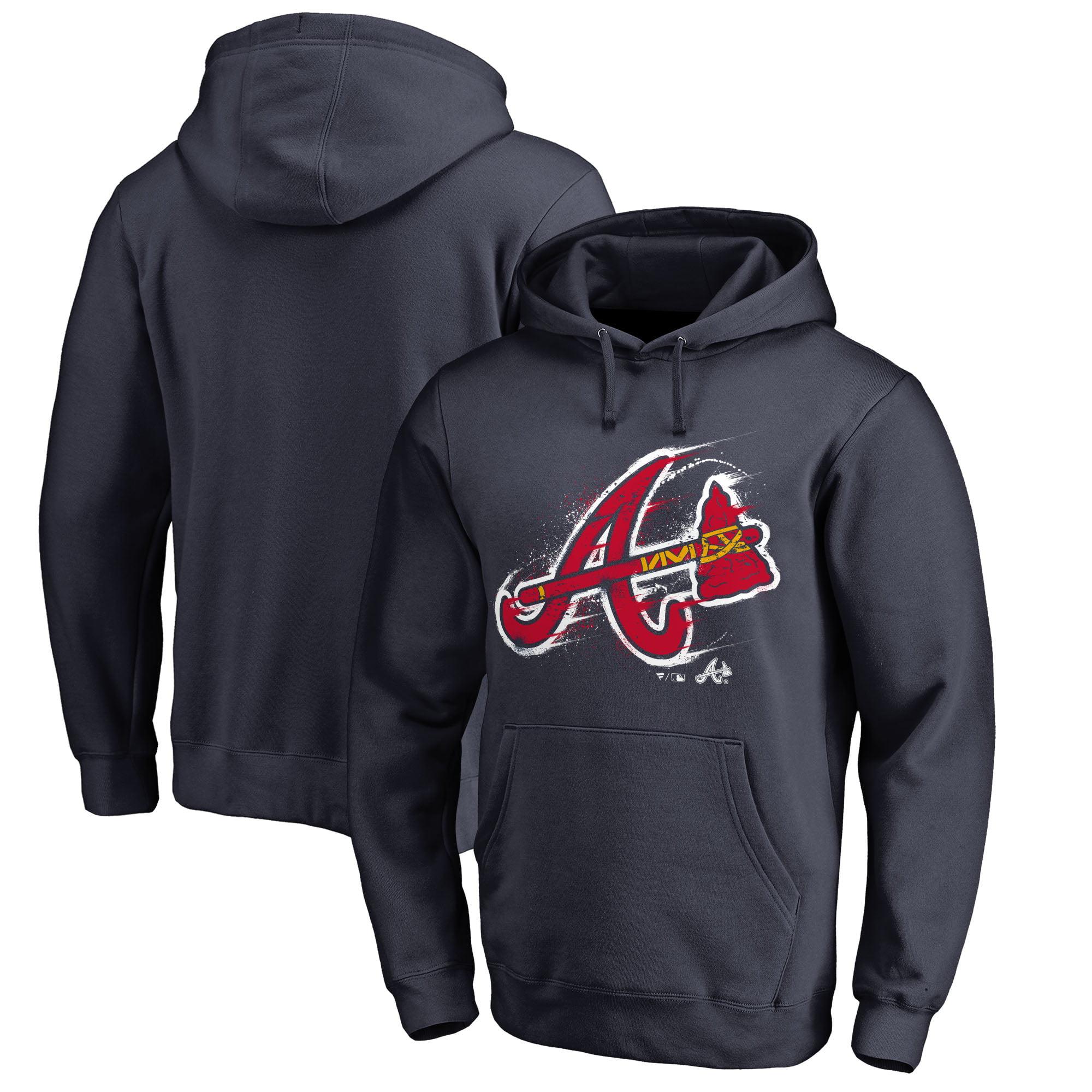 Atlanta Braves Fanatics Branded Splatter Logo Pullover Hoodie - Navy