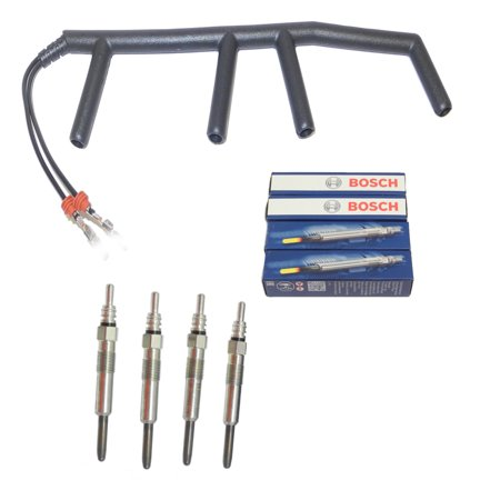 For 96-03 Volkswagen Golf Jetta Beetle Passat 1.9L Glow Plug & Wire Glow Plug Wiring Harness Set 96 97 98 99 00 01 02 03 (Volkswagen Ignition Wire Set)