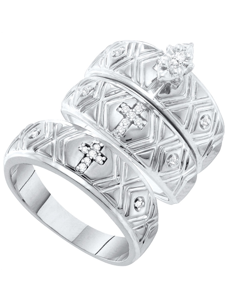 10k White Gold Marquise Diamond Christian Cross Trio Matching Mens Womens Ring Band Wedding Set .14 Ctw size- 9.5 by