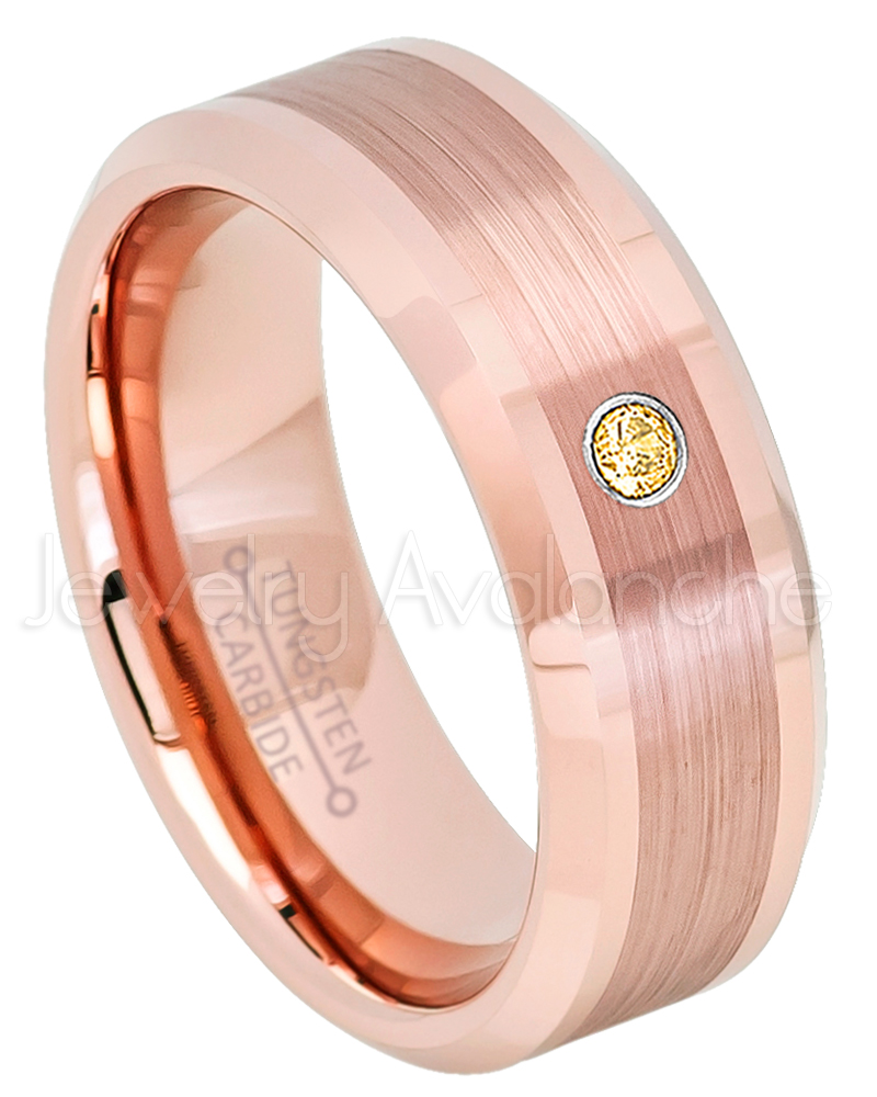 Rose Gold Plated Tungsten Ring - 0.07ct Solitaire Citrine Ring ...