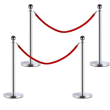 Ktaxon 4x Stanchion W/Red Velvet Rope Modern Star Foodservice Chrome Plated Hook - Rope Stanchions