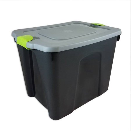Durabilt 22 Gal. Plastic Storage Tote With Green Latches, Black /Gray (Set of 8)