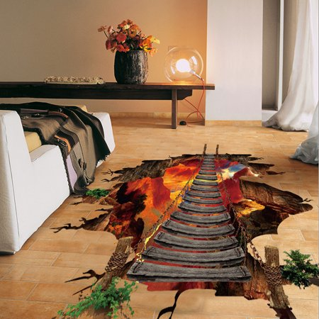 3D Flaming Floor Wall Stickers Removable Mural Decals Vinyl Art Living