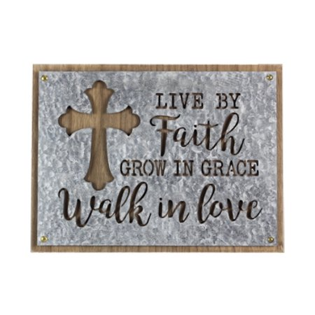 Live By Faith Wood & Tin Wall